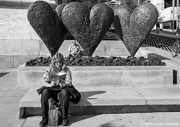 Woman and Heart Sculpture
