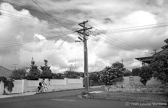 Wires and cyclist